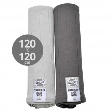 2 pack Swaddle XL Serviette Gaze Bébé 100% coton, 120x120 cm, gris