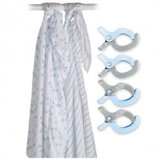Swaddle & Clip, 2 Maxi langes et attache, bleu