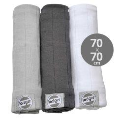 100% coton 3 pack Swaddle Serviette Gaze Bébé, 70x70 cm, gris Lodger