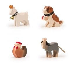 Animaux de la Ferme Trauffer, en bois, Jouet Durable, Qualité Suisse, Set de 4 jouets