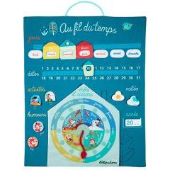 Panneau au fil du temps Bébé apprend les notions du temps avec Lilliputiens, 45x58cm bleu
