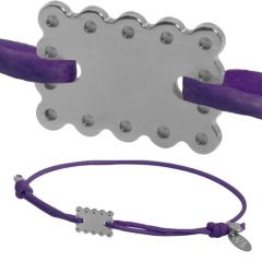 Bracelet Bébé Mini Biscuit en argent, cordon violet, Livraison Gratuite