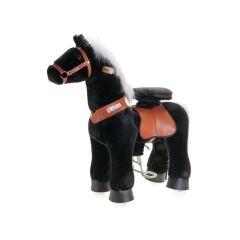 Cheval à roulettes PonyCycle, noir avec crinière blanche, petit modèle pour enfant de 3 à 5 ans
