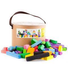 Jeu de Constructions, 102 Blocs en bois de couleurs pour des heures de jeu, dès 18 mois, Livraison Gratuite Bajo