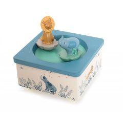 Boîte à musique pour bébé Elephant et Lion, Idée Cadeau Naissance Moulin Roty