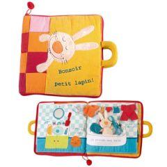 Bonsoir Petit Lapin, grand livre en tissu pour bébé et enfant Lilliputiens (version avec texte en français)