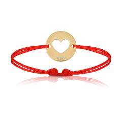 Bijoux Bébé Enfant, Bracelet Cordon rouge, coeur plaqué or, Aaina & Co
