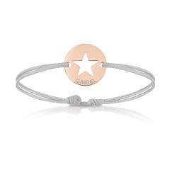 Bijoux plaqué or rosé pour Enfant ou bébé, Bracelet Cordon, etoile gris, Aaina & Co