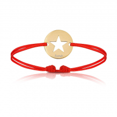 Bijoux plaqué or pour Enfant ou bébé, Bracelet Cordon, etoile rouge, Aaina & Co