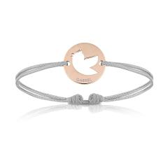 Bijoux Bébé Enfant plaqué or rosé, Bracelet Cordon, oiseau gris, Aaina & Co