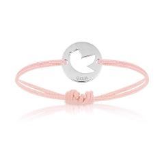 Bijoux Bébé Enfant Fille, Bracelet Cordon, oiseau rose, Aaina & Co