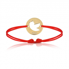 Bijoux Bébé Enfant plaqué or, Bracelet Cordon rouge, symbole oiseau, Cadeau Garçon ou Fille, Aaina & Co