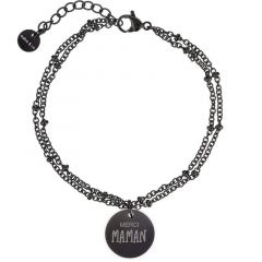Bracelet Maman, Cadeau Fête des Mères, Idée Cadeau à personnaliser, noir Aaina & Co