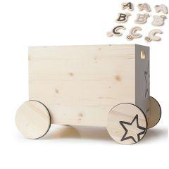 Caisse à jouets 100% suisse, Cadeau à personnaliser pour enfant, avec des lettres en bois, Kynee, Livraison Gratuite