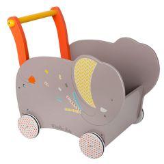 Chariot en bois Aide à la marche Les Papoum, Bébé apprend à marcher, Jouet Moulin Roty