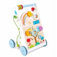 Chariot de marche avec activités d'éveil, Trotteur Bois Pour les premiers pas de bébé, Livraison Gratuite