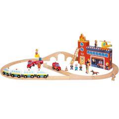 Jouet Circuit de Train, Story Express Pompiers Janod