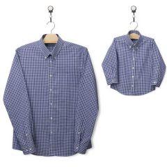 Chemises assorties papa et fils (à carreaux, bleu foncé)