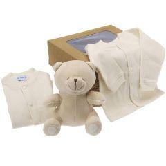 Cadeau Bio Naissance Enfant, Peluche et Habits bébé, à offrir à la naissance ou baby shower, Les Bébés l'Elizéa, beige