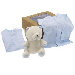 Cadeau Bio Naissance Enfant Garçon, Peluche et Habits bébé, à offrir à la naissance ou baby shower, Les Bébés l'Elizéa, bleu