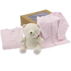 Cadeau Bio Naissance Enfant Fille, Peluche et Habits bébé, à offrir à la naissance ou baby shower, Les Bébés l'Elizéa, rose