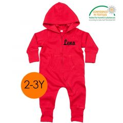 All in One OekoTex, Ensemble Enfant, idée cadeau à personnaliser, Combinaison 2-3 ans, rouge