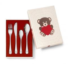 Ours avec Coeur Set Couverts pour petite fille, cadeau à graver Zilverstad