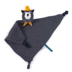 Doudou 100% coton, Chat gris foncé personnalisable et lavable en machine, Cadeau Naissance, Collection Lea Moustaches Moulin Roty