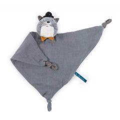 Doudou 100% coton, Chat gris personnalisable et lavable en machine, Cadeau Naissance, Collection Lea Moustaches Moulin Roty