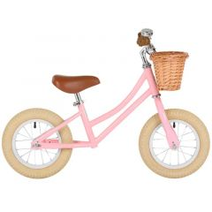 Draisienne Bobbin Fille dès 2 ans, Vélo 12 pouces sans Pédale style retro rose