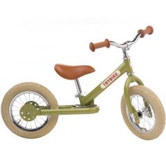 Premier Vélo Trybike Vintage en acier, draisienne 2 roues 12 pouces vert, Livraison Gratuite, Boutique Suisse