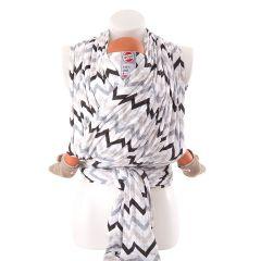 Echarpe Respirante Portage Facile 100% coton hydrophile, pour Bébé dès la naissance, Lodger zigzag noir, Livraison Gratuite
