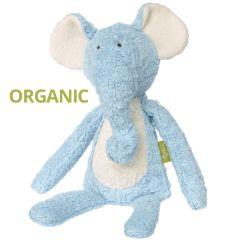Peluche en coton bio 38 cm Eléphant Pantin bleu Green Organique, Sigikid