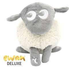 Ewan Deluxe Mouton Peluche veilleuse avec détecteur de pleurs, Easidream, gris, idée cadeau naissance