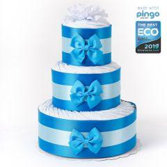 Gâteau 60x Couches Baby Shower, Couches écologiques Pingo, Naissance Petit Garçon Livraison Gratuite, bleu