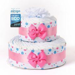 Gâteau à Pois 40 Couches écologiques Naissance Fille, Marque Langes Pingo, Naissance Bébé Livraison Gratuite Suisse, rose