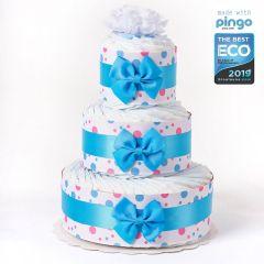 Gâteau à Pois 60 Couches écologiques Naissance Bébé, Marque Langes Pingo, Naissance Bébé Garçon Livraison Gratuite Suisse, bleu