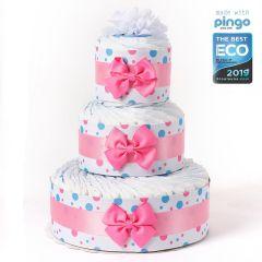 Gâteau à Pois, 60 x Couches écologiques Naissance Bébé, Marque Langes Pingo, Naissance Bébé Fille Livraison Gratuite Suisse, rose