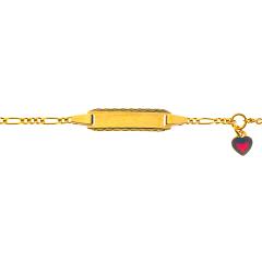 Gourmette Or 750 Coeur Rouge, Bracelet Identité Bébé, 14cm, Livraison Gratuite Suisse