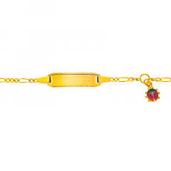 Gourmette Or 750 Coccinelle, Bracelet Identité Bébé, 14cm, Livraison Gratuite Suisse
