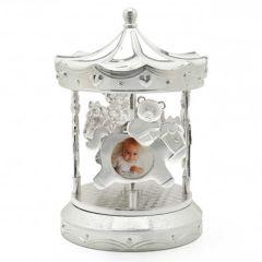 Manège musical Zilverstad avec cadre photo bébé, Cadeau  à personnaliser pour Naissance ou Baptême
