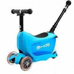 Trottinette Micro Mini2go Deluxe Plus bleu, avec barre et espace pour ranger ses affaires, Livraison Gratuite, Boutique en Suisse
