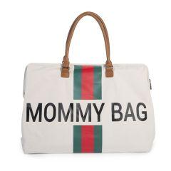 Sac à langer Mommy Bag Crème Rayé vert et rouge, Idée Cadeau Maman Childhome