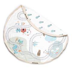 Sac de jeux & Circuit de Train, Baluchon 2en1 pour ranger ses  jouets et jouer au train, Idée Cadeau Play & Go