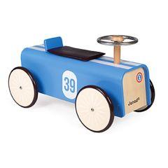 Porteur Voiture Course Bleue, Cadeau Anniversaire Enfant 2 ans, Nouveauté Janod, Livraison Gratuite