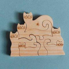 Petit Puzzle Montessori 6 pièces Chats en bois, Kaspi Land