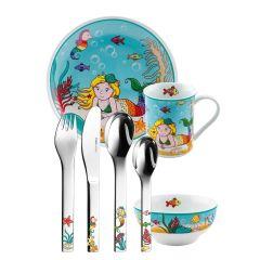 Vaisselle et Services Sirène pour Fille, Couverts à graver, 7 pièces Puresigns