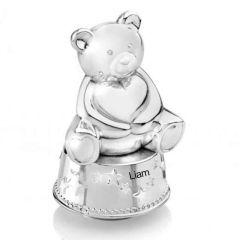 Boîte à musique tirelire Zilverstad ours avec coeur, argenté, Cadeau Naissance
