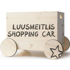 Caisse à jouets avec roulettes Shopping Car, 100% suisse, Déco Chambre enfant, Kynee, Livraison Gratuite