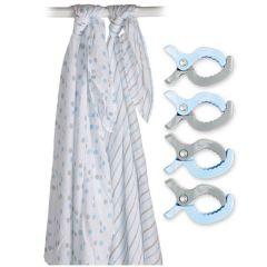 Swaddle & Clip, 2 Maxi langes et attache, bleu